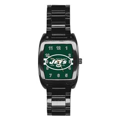 New York Jets National Football League Nfl Teams Afc Stainless Steel Barrel Watch by SportMart