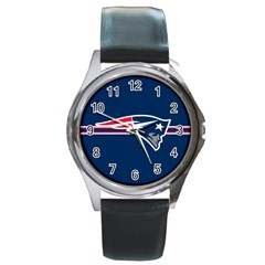 New England Patriots National Football League Nfl Teams Afc Round Leather Watch (Silver Rim) by SportMart