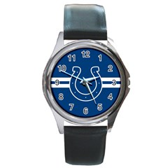 Indianapolis Colts National Football League Nfl Teams Afc Round Leather Watch (silver Rim) by SportMart