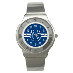 Indianapolis Colts National Football League Nfl Teams Afc Stainless Steel Watch (slim) by SportMart