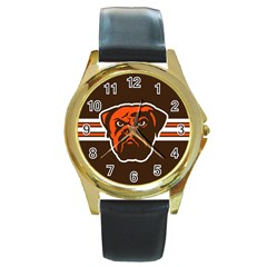 Cleveland Browns National Football League Nfl Teams Afc Round Leather Watch (gold Rim)  by SportMart