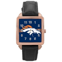Denver Broncos National Football League Nfl Teams Afc Rose Gold Leather Watch  by SportMart