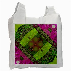 Florescent Pink Green  White Reusable Bag (one Side) by OCDesignss