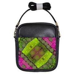 Florescent Pink Green  Girl s Sling Bag by OCDesignss