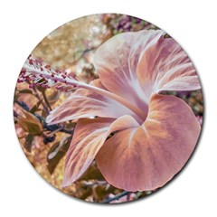 Fantasy Colors Hibiscus Flower Digital Photography 8  Mouse Pad (round) by dflcprints