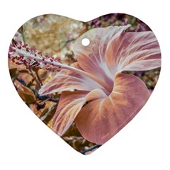 Fantasy Colors Hibiscus Flower Digital Photography Heart Ornament by dflcprints