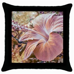 Fantasy Colors Hibiscus Flower Digital Photography Black Throw Pillow Case by dflcprints