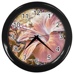 Fantasy Colors Hibiscus Flower Digital Photography Wall Clock (black) by dflcprints