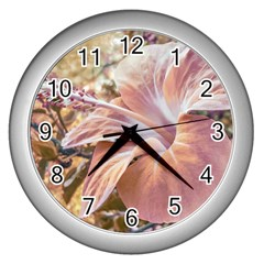 Fantasy Colors Hibiscus Flower Digital Photography Wall Clock (silver) by dflcprints