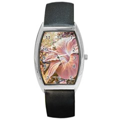 Fantasy Colors Hibiscus Flower Digital Photography Tonneau Leather Watch by dflcprints