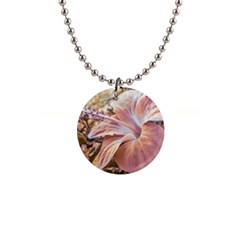 Fantasy Colors Hibiscus Flower Digital Photography Button Necklace by dflcprints