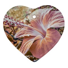 Fantasy Colors Hibiscus Flower Digital Photography Heart Ornament (two Sides) by dflcprints