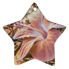 Fantasy Colors Hibiscus Flower Digital Photography Star Ornament (two Sides) by dflcprints