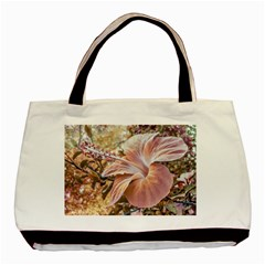 Fantasy Colors Hibiscus Flower Digital Photography Twin Sided Black Tote Bag by dflcprints