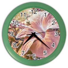 Fantasy Colors Hibiscus Flower Digital Photography Wall Clock (color) by dflcprints