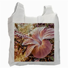 Fantasy Colors Hibiscus Flower Digital Photography White Reusable Bag (one Side) by dflcprints