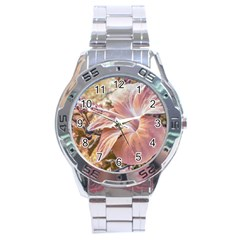 Fantasy Colors Hibiscus Flower Digital Photography Stainless Steel Watch by dflcprints