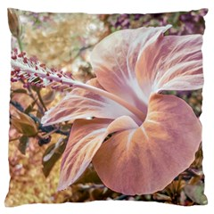 Fantasy Colors Hibiscus Flower Digital Photography Large Flano Cushion Case (two Sides) by dflcprints