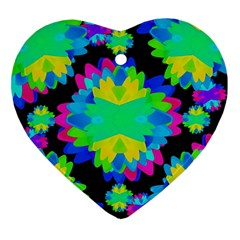 Multicolored Floral Print Geometric Modern Pattern Heart Ornament by dflcprints