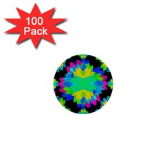 Multicolored Floral Print Geometric Modern Pattern 1  Mini Button (100 Pack) by dflcprints