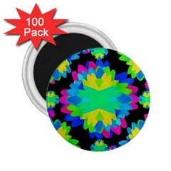 Multicolored Floral Print Geometric Modern Pattern 2 25  Button Magnet (100 Pack) by dflcprints