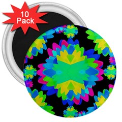 Multicolored Floral Print Geometric Modern Pattern 3  Button Magnet (10 Pack) by dflcprints