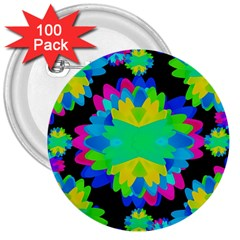 Multicolored Floral Print Geometric Modern Pattern 3  Button (100 Pack) by dflcprints