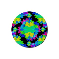 Multicolored Floral Print Geometric Modern Pattern Drink Coaster (round) by dflcprints