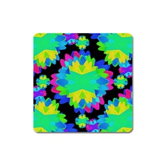 Multicolored Floral Print Geometric Modern Pattern Magnet (square) by dflcprints