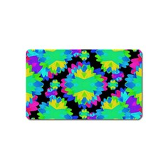 Multicolored Floral Print Geometric Modern Pattern Magnet (name Card) by dflcprints