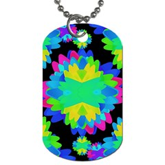 Multicolored Floral Print Geometric Modern Pattern Dog Tag (two Sided)  by dflcprints