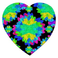 Multicolored Floral Print Geometric Modern Pattern Jigsaw Puzzle (heart) by dflcprints