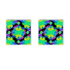 Multicolored Floral Print Geometric Modern Pattern Cufflinks (square) by dflcprints