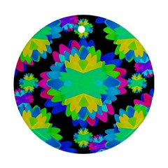 Multicolored Floral Print Geometric Modern Pattern Round Ornament (two Sides) by dflcprints
