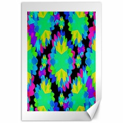 Multicolored Floral Print Geometric Modern Pattern Canvas 24  X 36  (unframed) by dflcprints