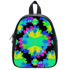 Multicolored Floral Print Geometric Modern Pattern School Bag (small) by dflcprints