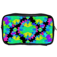 Multicolored Floral Print Geometric Modern Pattern Travel Toiletry Bag (two Sides) by dflcprints