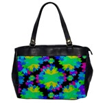 Multicolored Floral Print Geometric Modern Pattern Oversize Office Handbag (One Side) Front