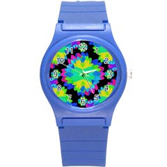 Multicolored Floral Print Geometric Modern Pattern Plastic Sport Watch (small) by dflcprints