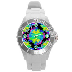 Multicolored Floral Print Geometric Modern Pattern Plastic Sport Watch (Large) by dflcprints