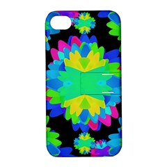 Multicolored Floral Print Geometric Modern Pattern Apple Iphone 4/4s Hardshell Case With Stand by dflcprints