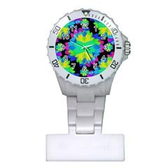Multicolored Floral Print Geometric Modern Pattern Nurses Watch by dflcprints