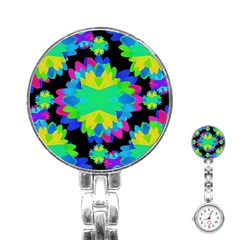 Multicolored Floral Print Geometric Modern Pattern Stainless Steel Nurses Watch by dflcprints