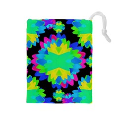 Multicolored Floral Print Geometric Modern Pattern Drawstring Pouch (Large) by dflcprints