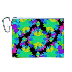 Multicolored Floral Print Geometric Modern Pattern Canvas Cosmetic Bag (large) by dflcprints