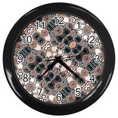 Modern Arabesque Pattern Print Wall Clock (black) by dflcprints