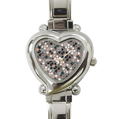 Modern Arabesque Pattern Print Heart Italian Charm Watch  by dflcprints