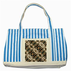 Modern Arabesque Pattern Print Blue Striped Tote Bag by dflcprints