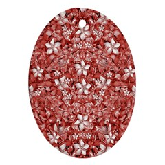 Flowers Pattern Collage In Coral An White Colors Oval Ornament by dflcprints