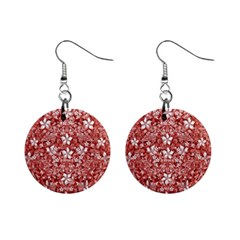 Flowers Pattern Collage In Coral An White Colors Mini Button Earrings